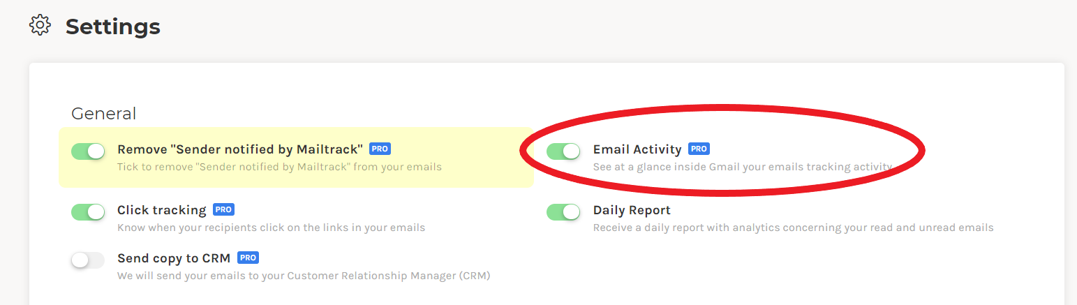 Email activity in settings