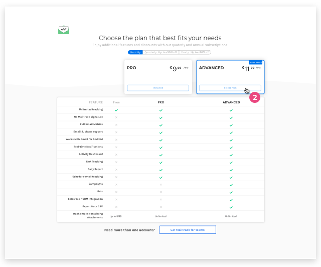 Select a different plan on the pricing page
