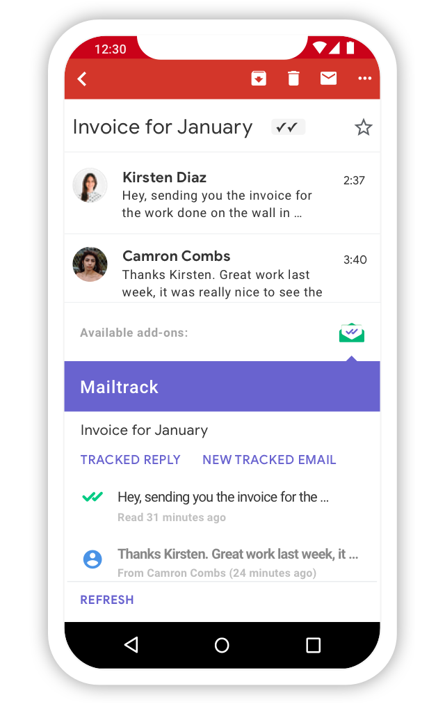 Email activity in the mobile add-on